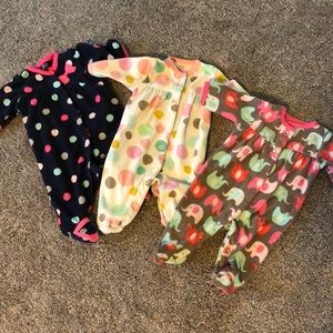 Newborn Lot of Fleece Pajamas